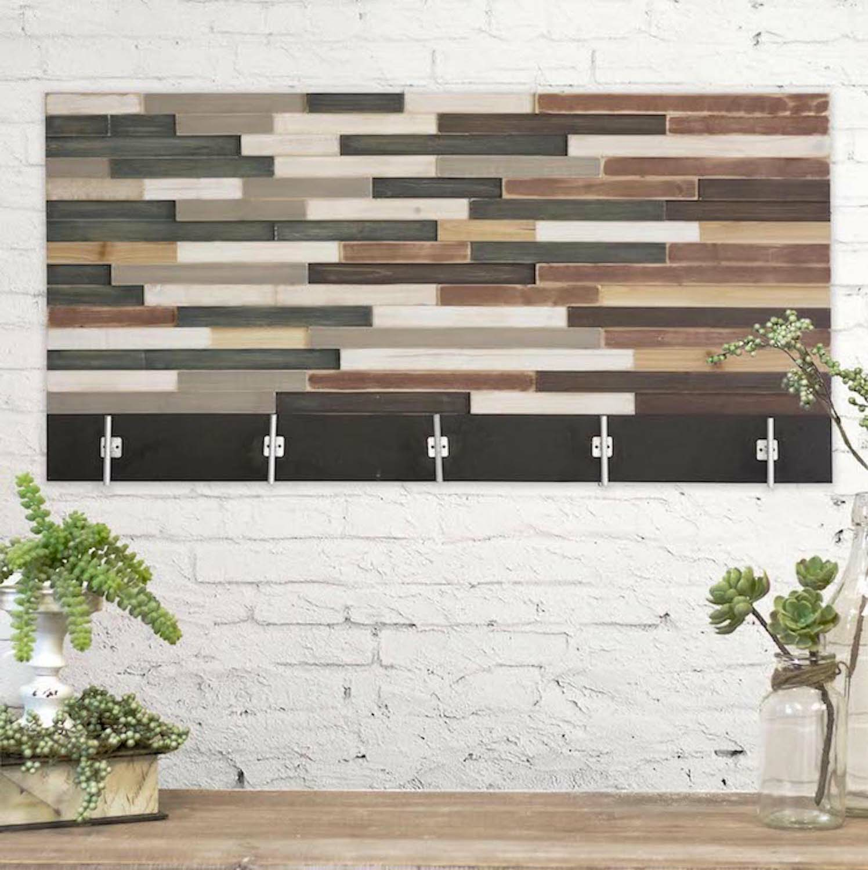 Reclaimed Wood Art Coat Rack