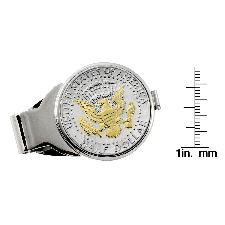 Selectively Gold-Layered Presidential Seal Half Dollar Silvertone Coin Money Clip