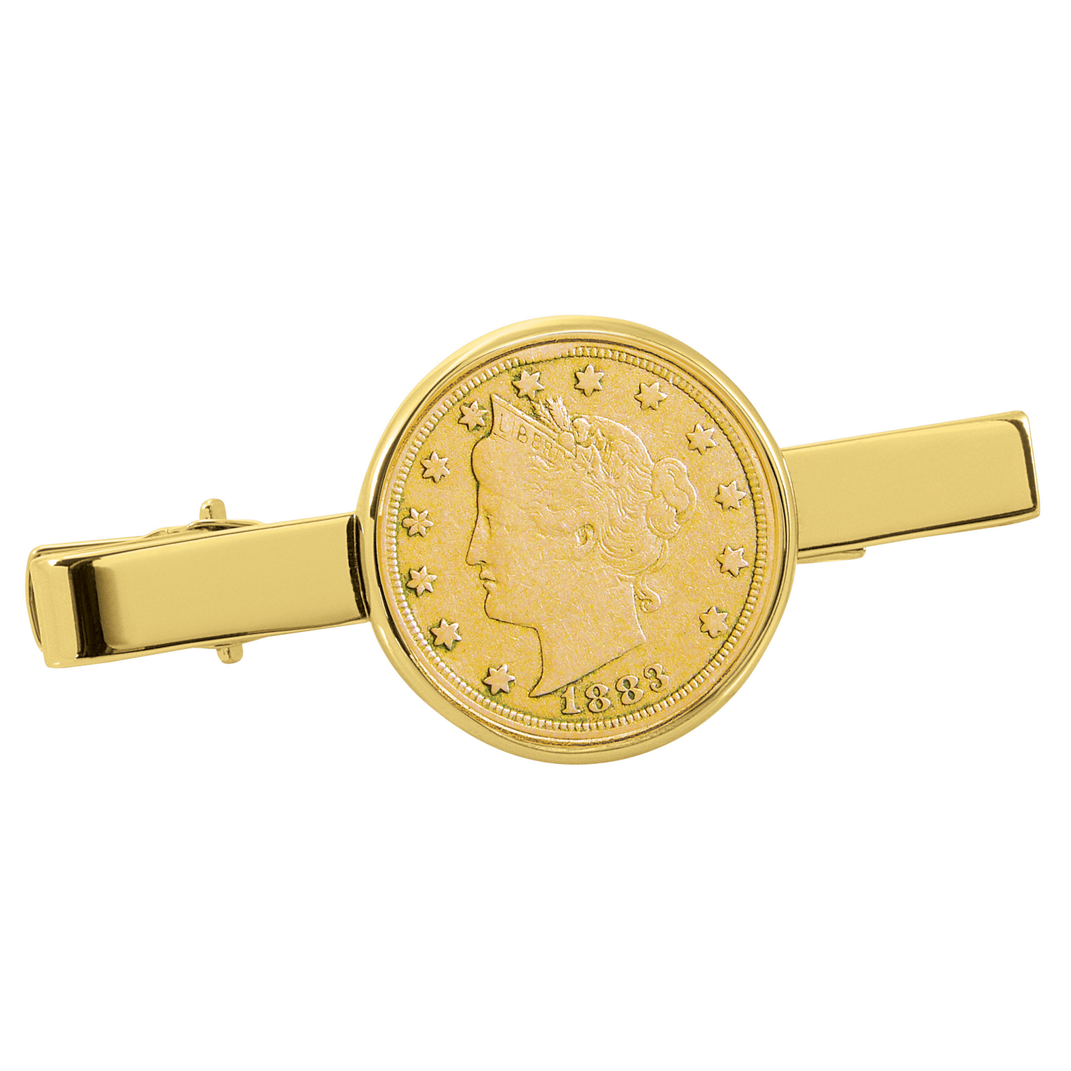 Gold-Layered 1800'S Liberty Nickel Gold Tone Tie Clip