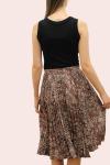Amelia New Mocha Mica Brown Pleated Skirt - 2