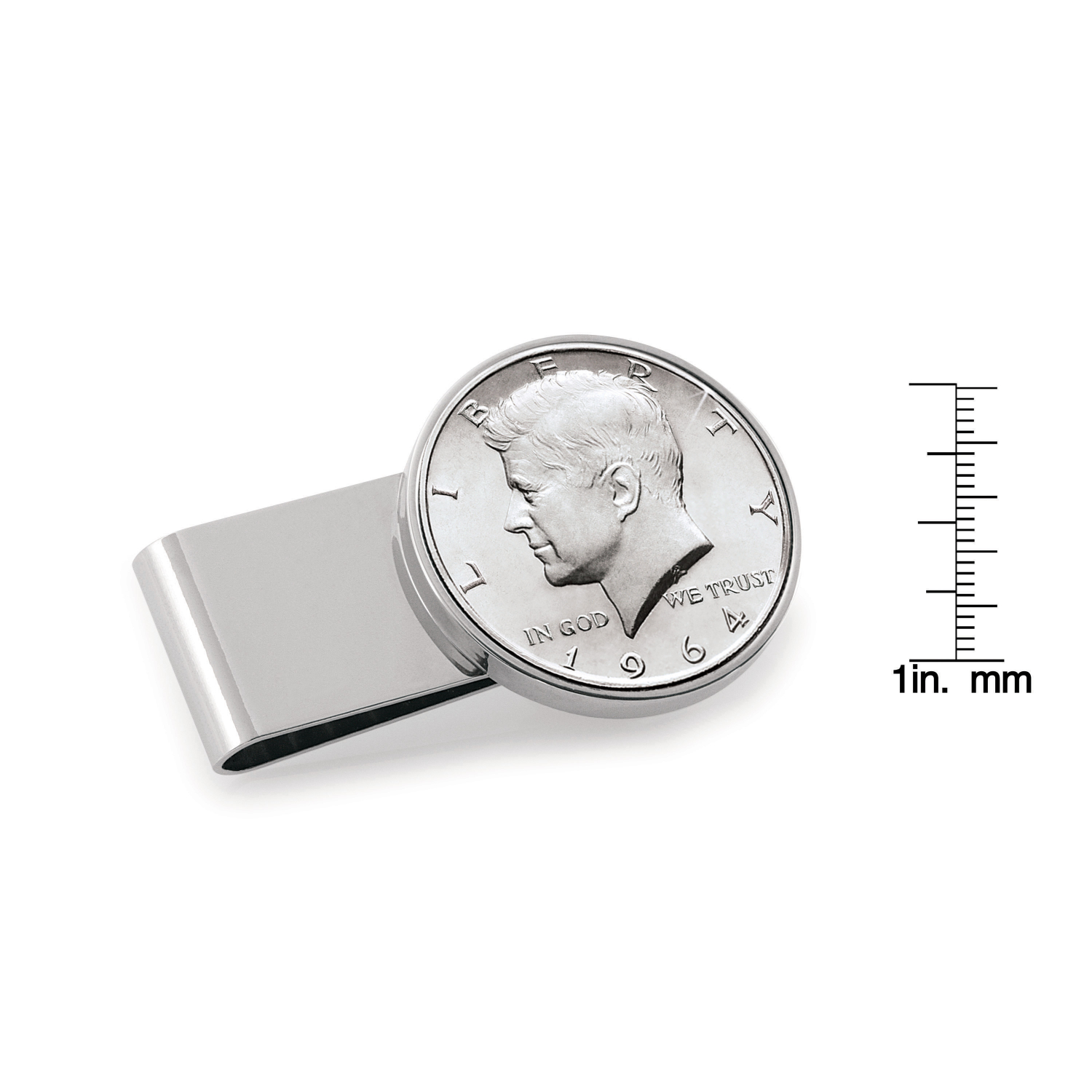 Jfk 1964 First Year Of Issue Half Dollar Stainless Steel Silvertone Coin Money Clip