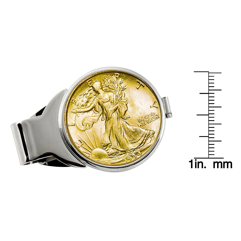 Gold-Layered Silver Walking Liberty Half Dollar Silver Tone Coin Money Clip