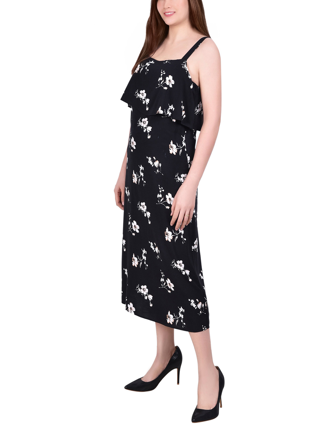 Ny Collection Wide Strap Sundress With Bodice Overlay