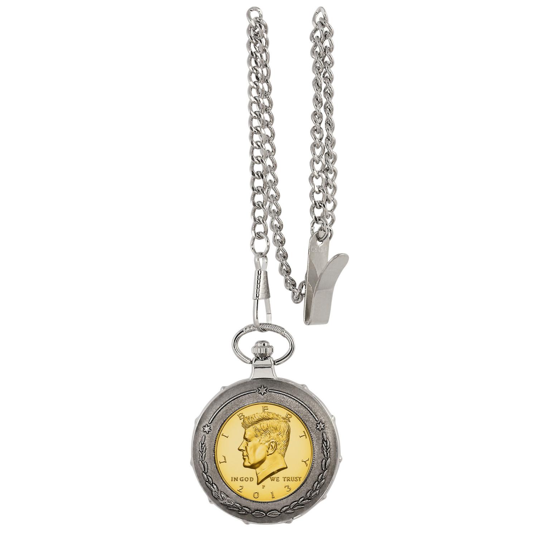 Gold-Layered Jfk Half Dollar Silver tone Train Coin Pocket Watch