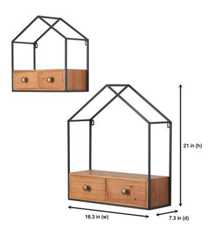 Black House Shaped Shelf Set With Drawers