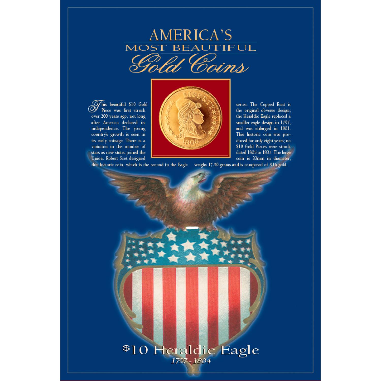 Tribute To America's Most Beautiful Coins - $10 Heraldic Eagle Replica Coin