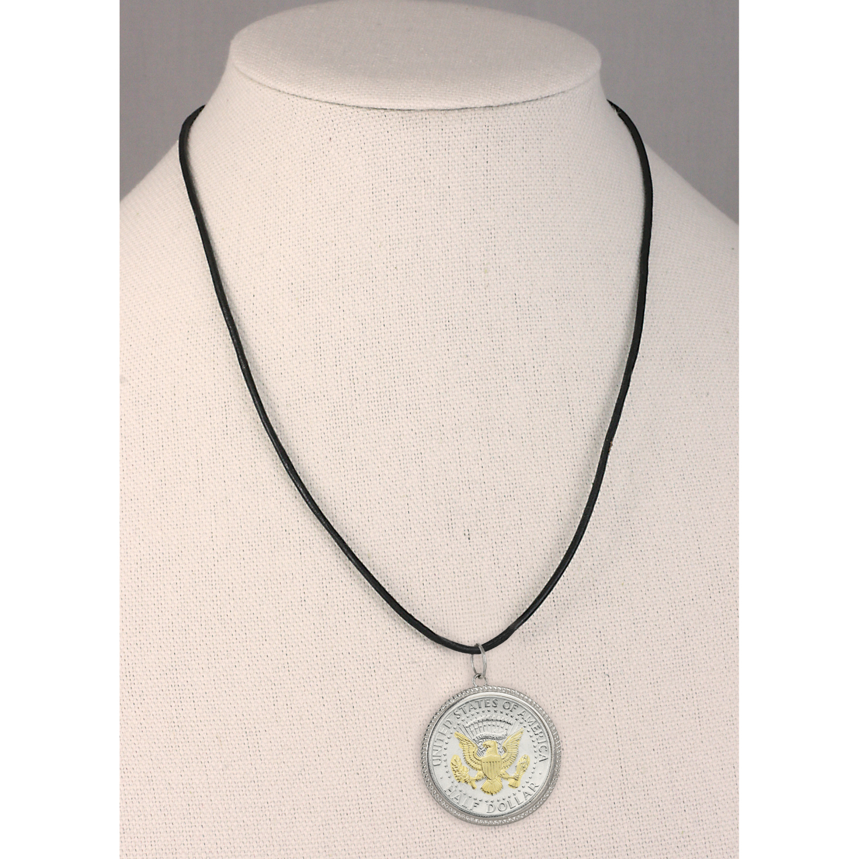 Presidential Seal 2 Tone Jfk Half Dollar Pendant With Leather Cord