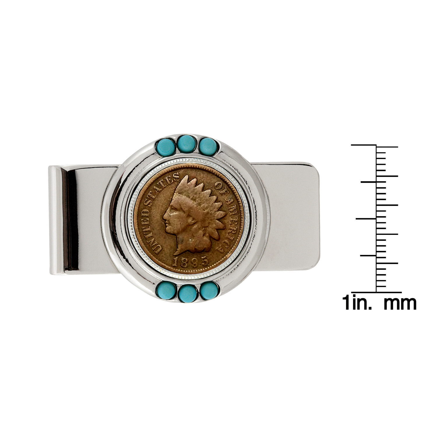 1800'S Indian Penny Turquoise Coin Money Clip