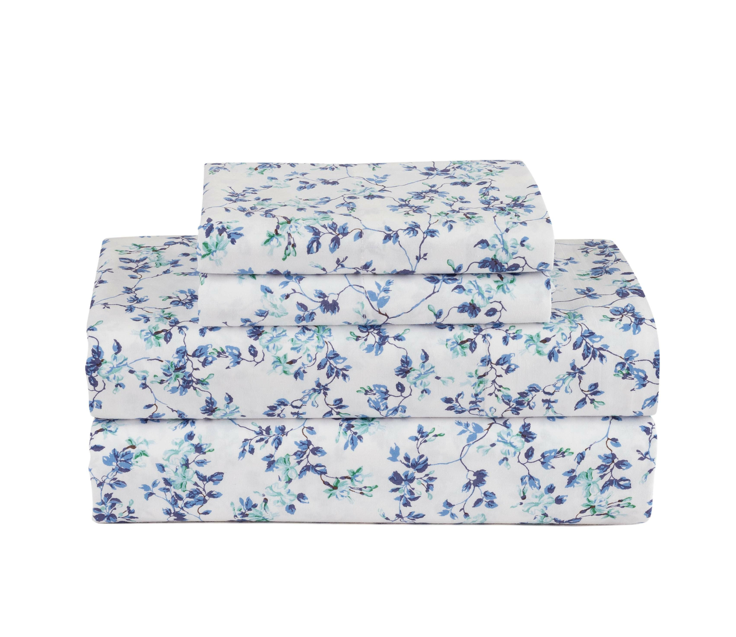 100% Cotton Percale 4Pc Floral Garden Printed Sheet Set by ML Home