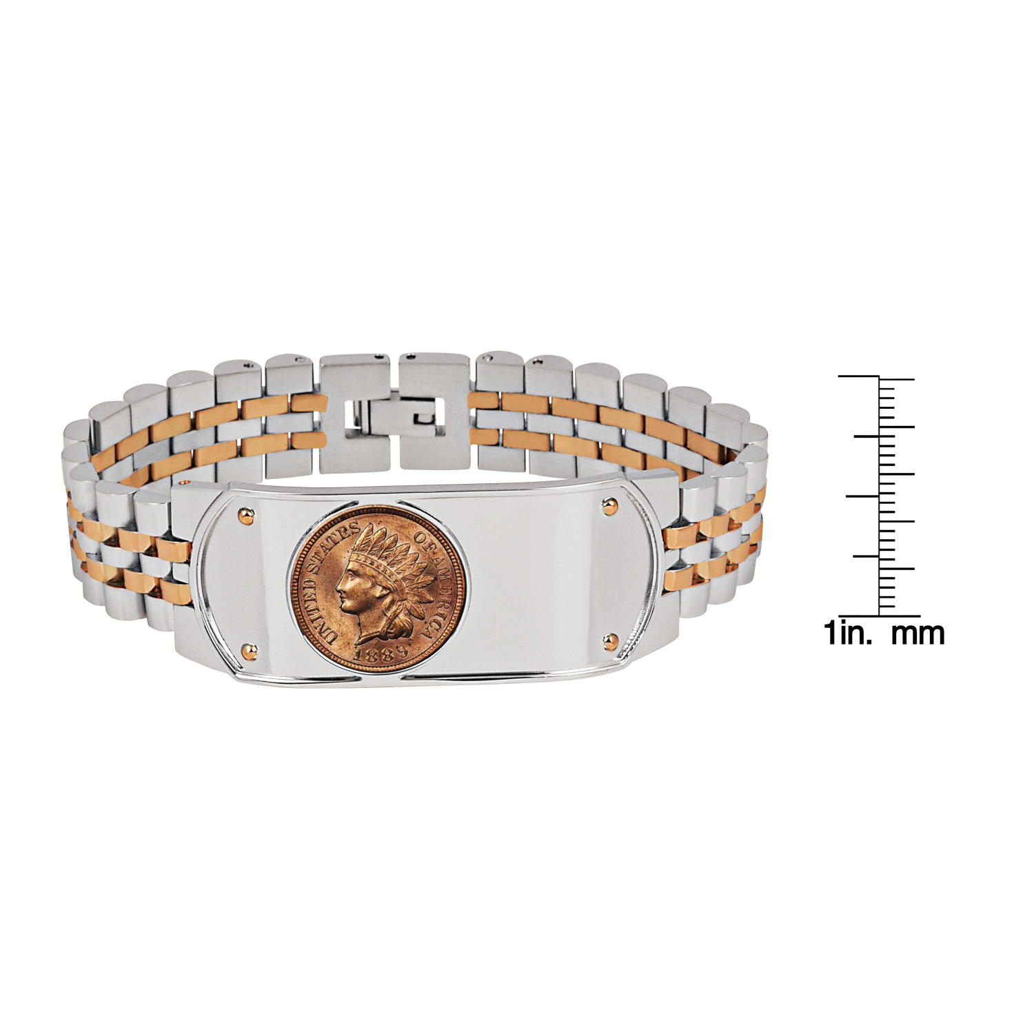 Men's Two-Tone Stainless Steel Bracelet With 1800'S Indian Head Penny Coin