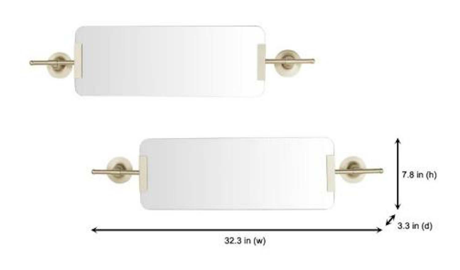 Champagne Decorative Wall Mirror With Brackets Set Of 2