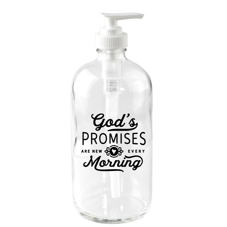 God's Promises Glass Soap Dispenser Holds 16 Ounces