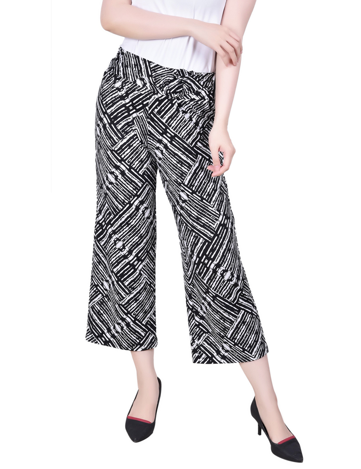 Ny Collection Petite Cropped Pull On Pants With Faux Belt