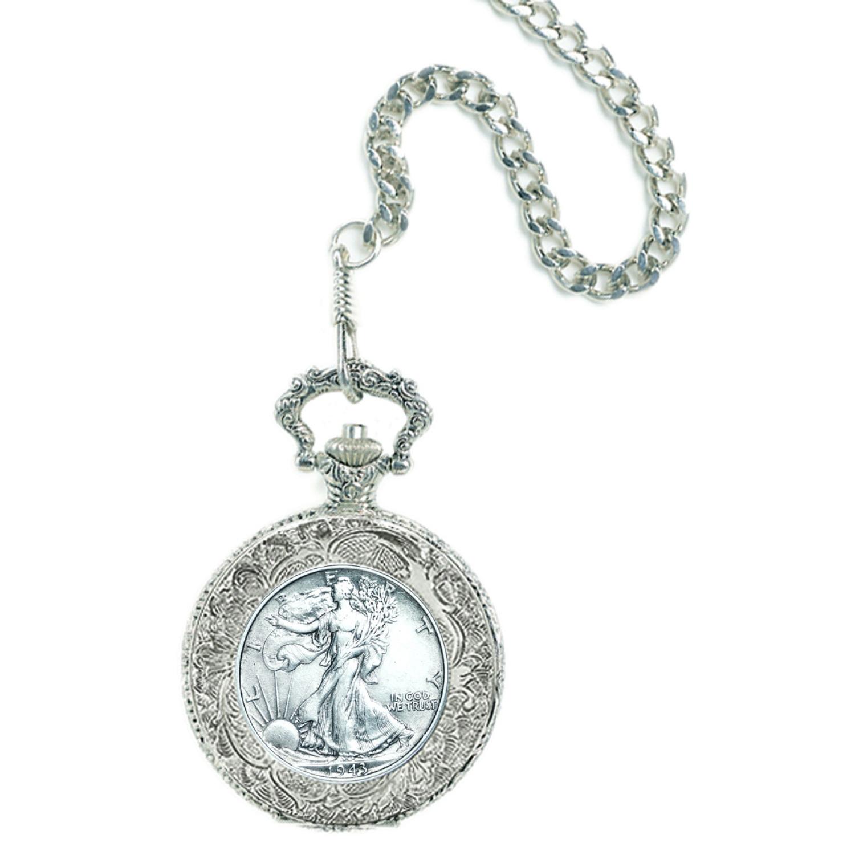 Silver Walking Liberty Half Dollar Coin Pocket Watch