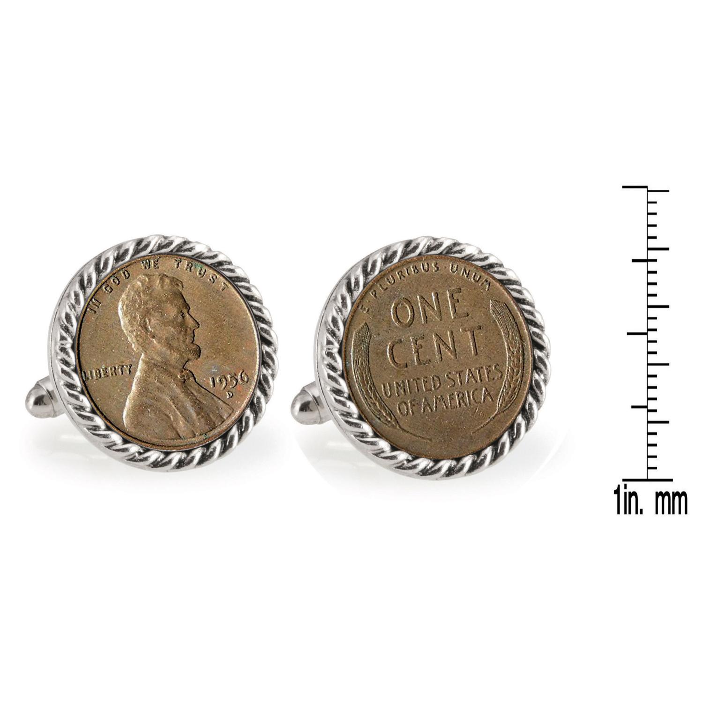 Lincoln Wheat-Ear Penny Cuff Silvertone Rope Bezel Coin Cufflinks