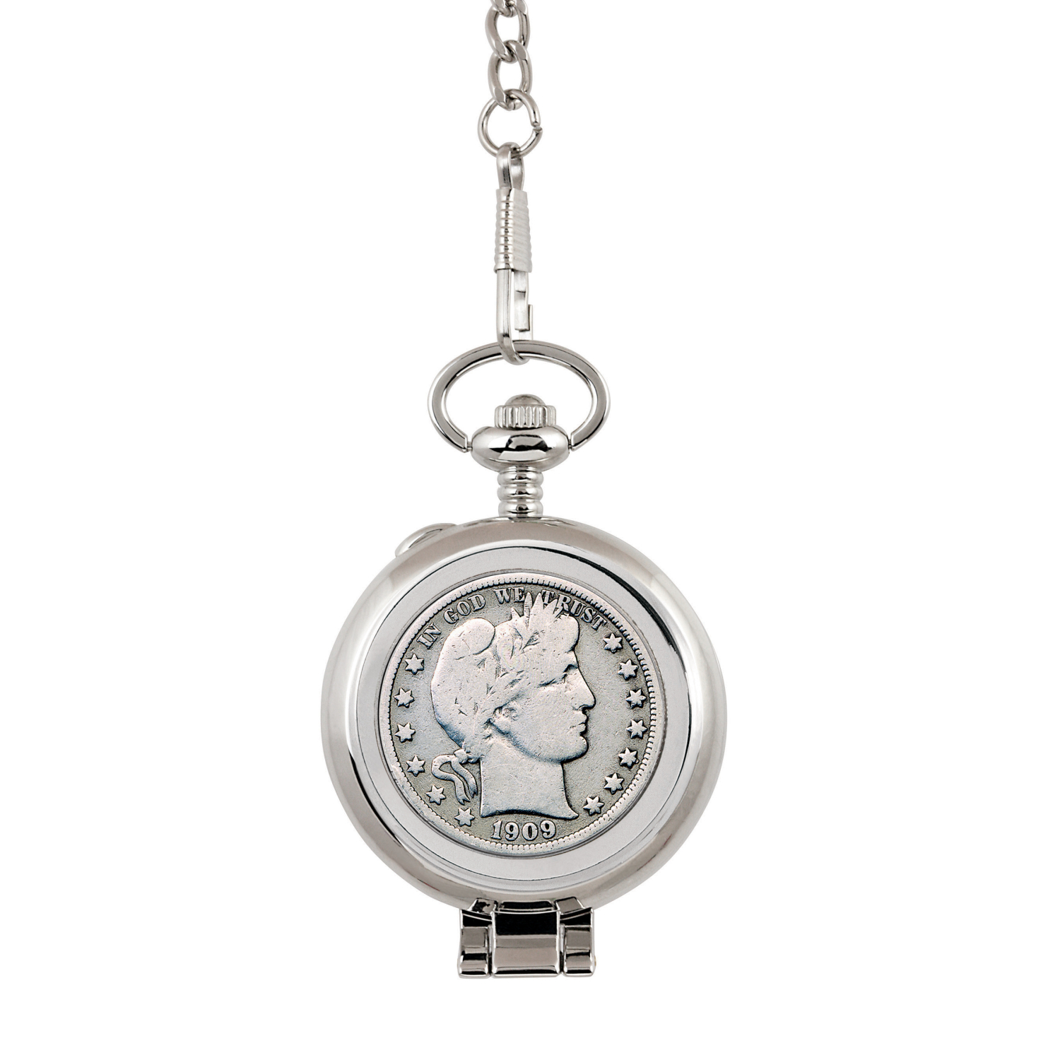 Silver Barber Half Dollar Coin Pocket Watch With Skeleton Movement - Black Dial With Gold Roman Numerals