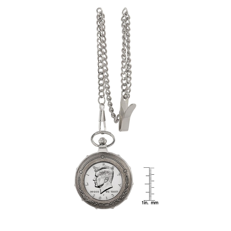 Proof Jfk Half Dollar Silvertone Train Coin Pocket Watch