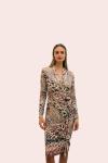 Amelia New York Long Sleeve Faux Wrap Dress Animal Print - 1