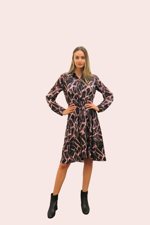 Amelia New York Mauve Quartz Print High- Low Dress