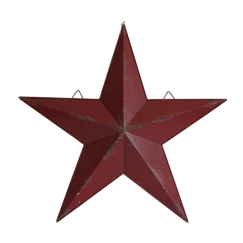 Lighted Metal Barn Star Red