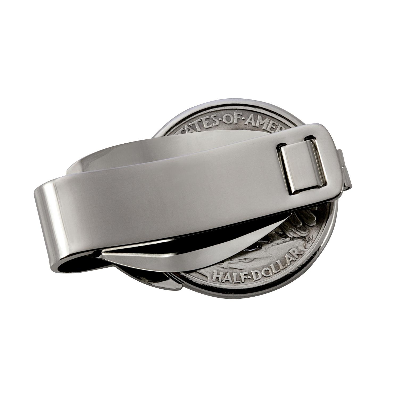 Gold-Layered Silver Barber Half Dollar Silver Tone Coin Money Clip