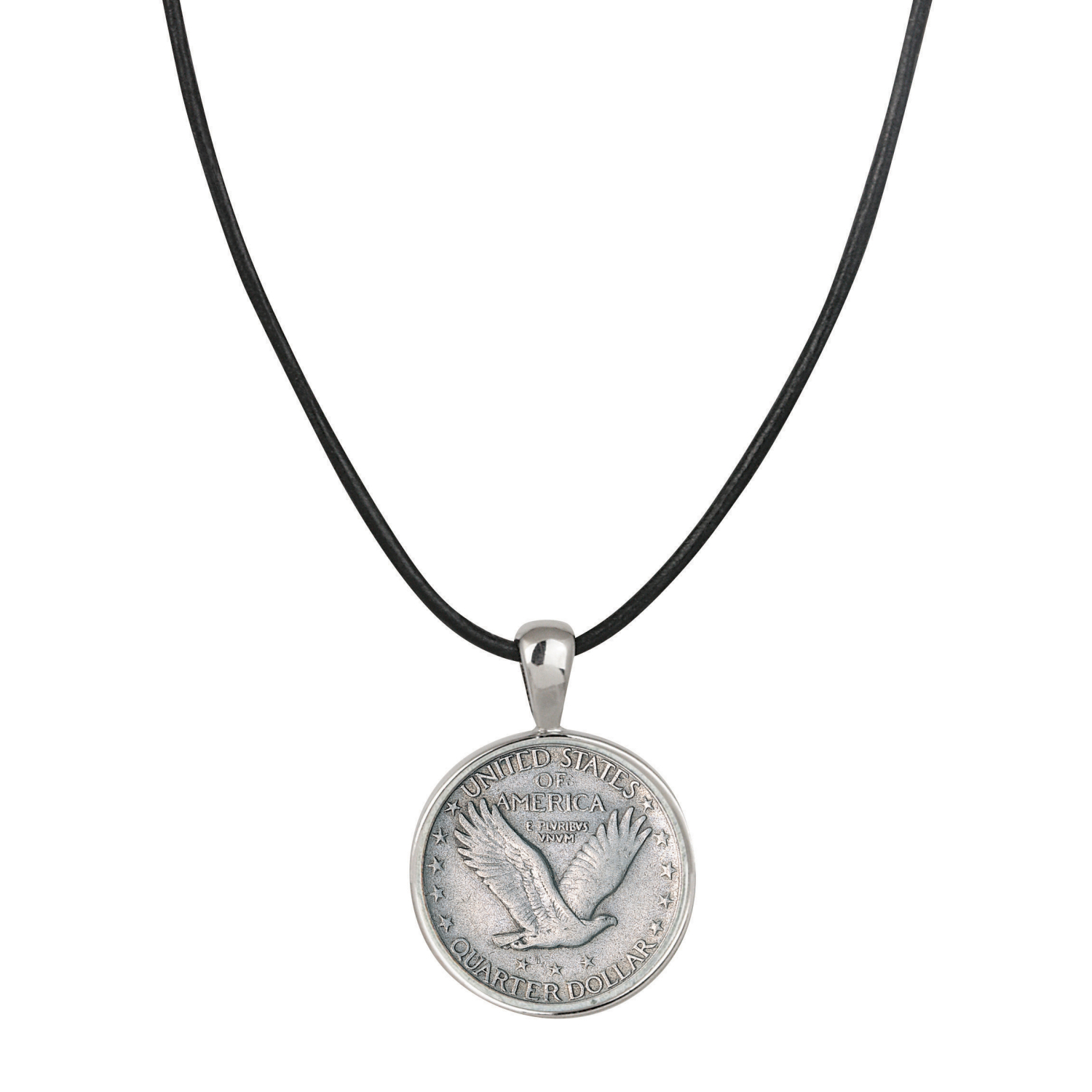 Standing Liberty Silver Quarter Pendant With Leather Cord- Reverse
