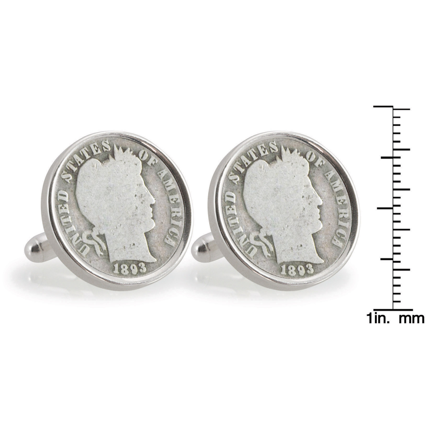 1800'S Silver Barber Dime Sterling Silver Coin Cufflinks