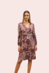 Amelia New York Long Sleeve Plum Print Dress - 1