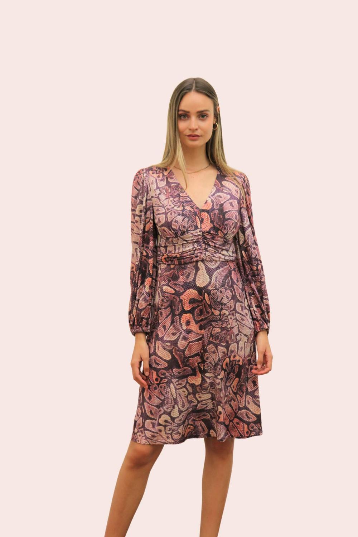 Amelia New York Long Sleeve Plum Print Dress