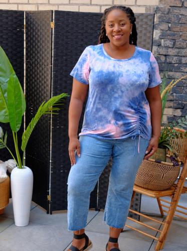 DB Sunday Tie Dye Cinch Side Knit Top - Back