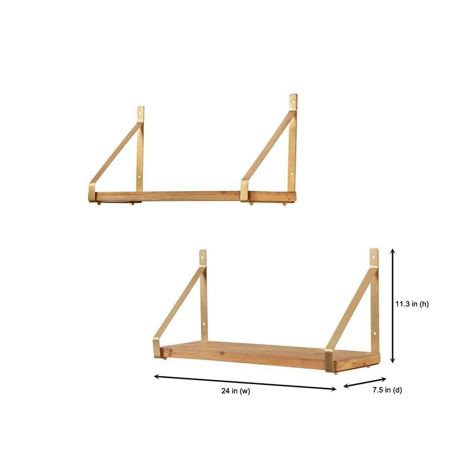 2 Foot Gold With Natural Wood Wrap Bracket Shelf Set Of 2