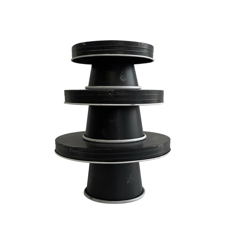 Distressed Enamel Pedestal Servers Set of 3 - Black