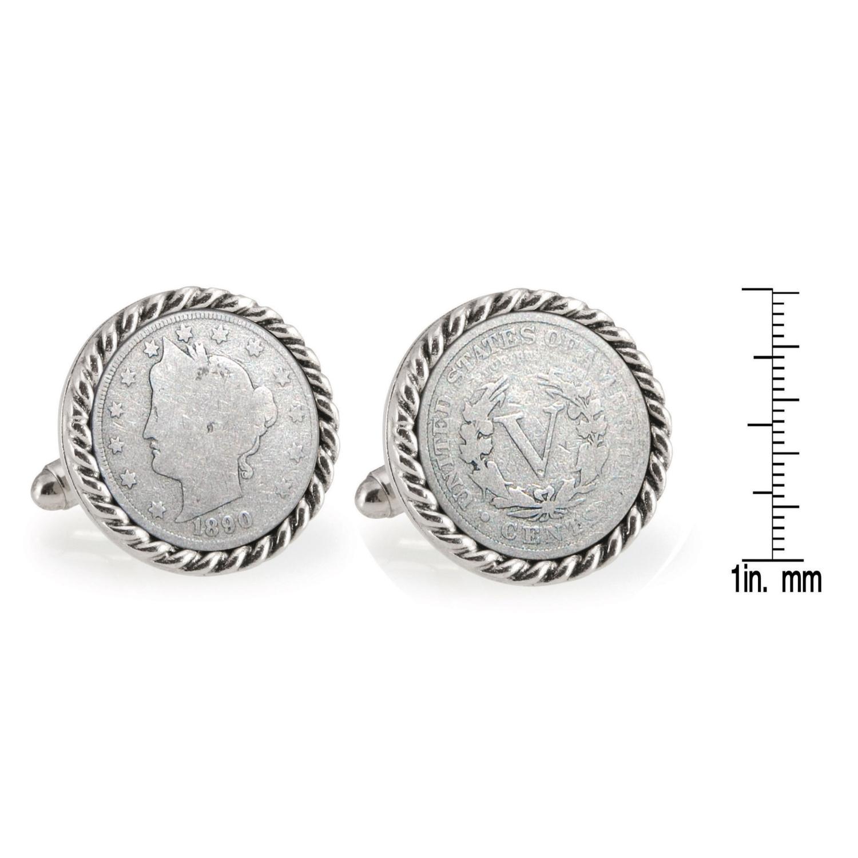 1800'S Liberty Nickel Silvertone Rope Bezel Coin Cufflinks
