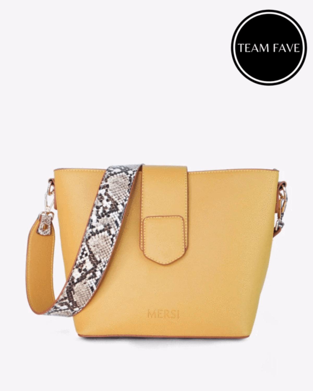 Mersi Isabel Snake Print Bucket Bag - Vegan Leather