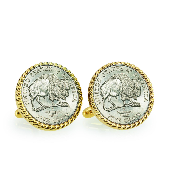 2005 Bison Nickel Goldtone Rope Bezel Coin Cuff Links