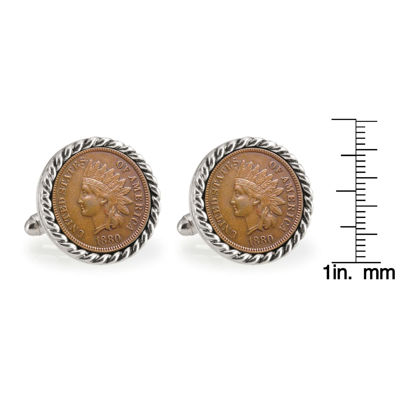 Usc 1880 Silvertone Rope Bezel Penny Coin Cufflinks