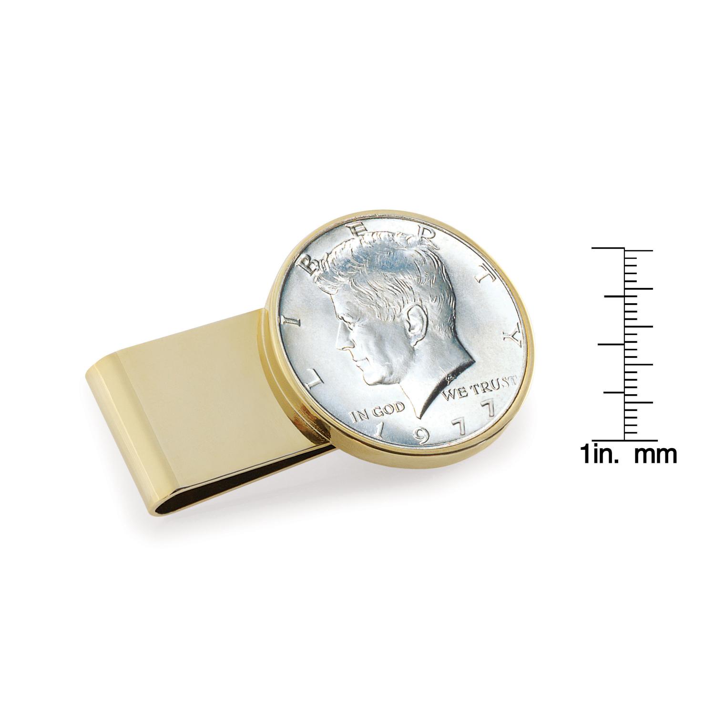 Jfk Half Dollar Stainless Steel Goldtone Coin Money Clip