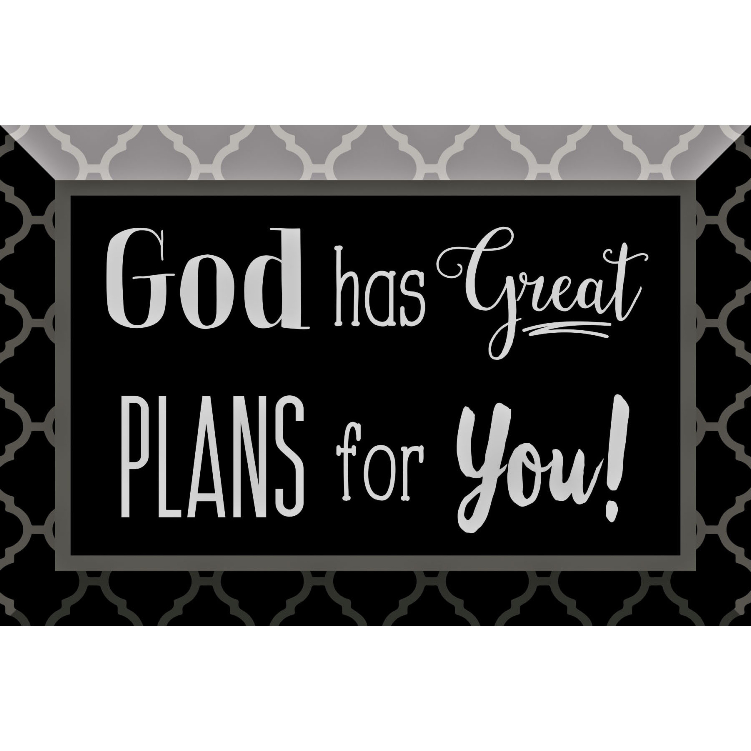 God Has Great Plans Glass Plaque With Easel 4 Inches X 6 Inches