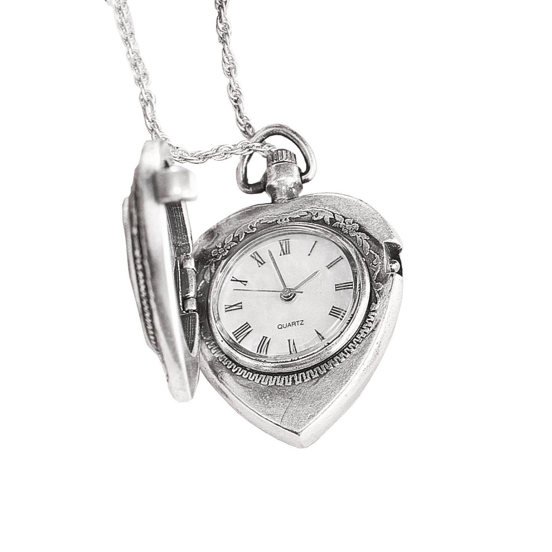 Greek 2 Euro Coin Heart Locket Pocket Watch Pendant