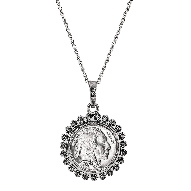 Buffalo Nickel Silvertone Blossom Coin Pendant 24