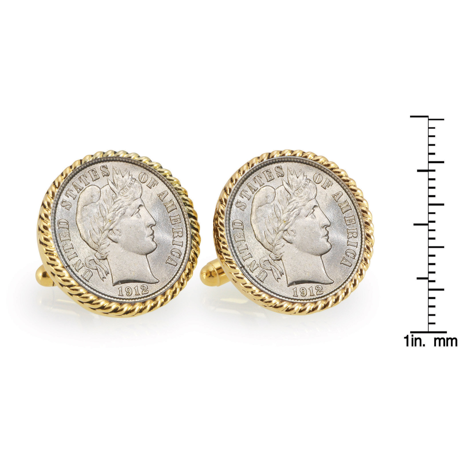 Silver Barber Dime Gold Tone Rope Bezel Coin Cufflinks