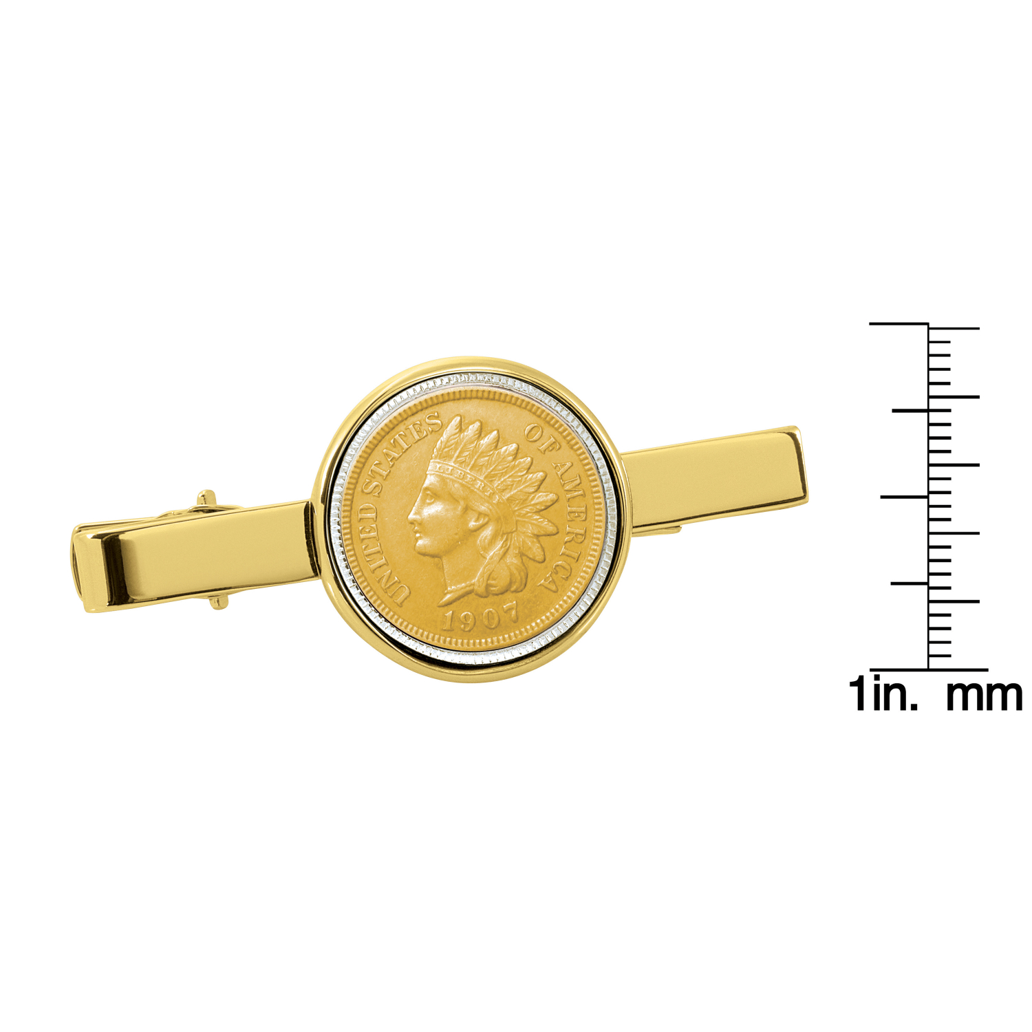 Gold-Layered Indian Penny Gold Tone Tie Clip