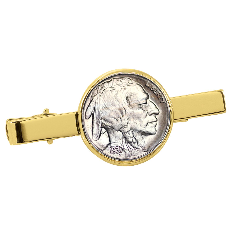 Buffalo Nickel Goldtone Tie Clip