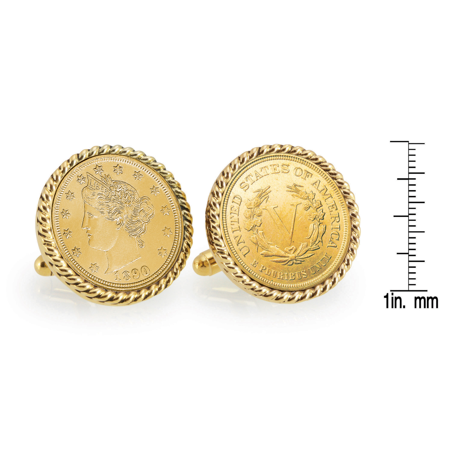 Gold-Layered 1800'S Liberty Nickel Gold Tone Rope Bezel Coin Cufflinks