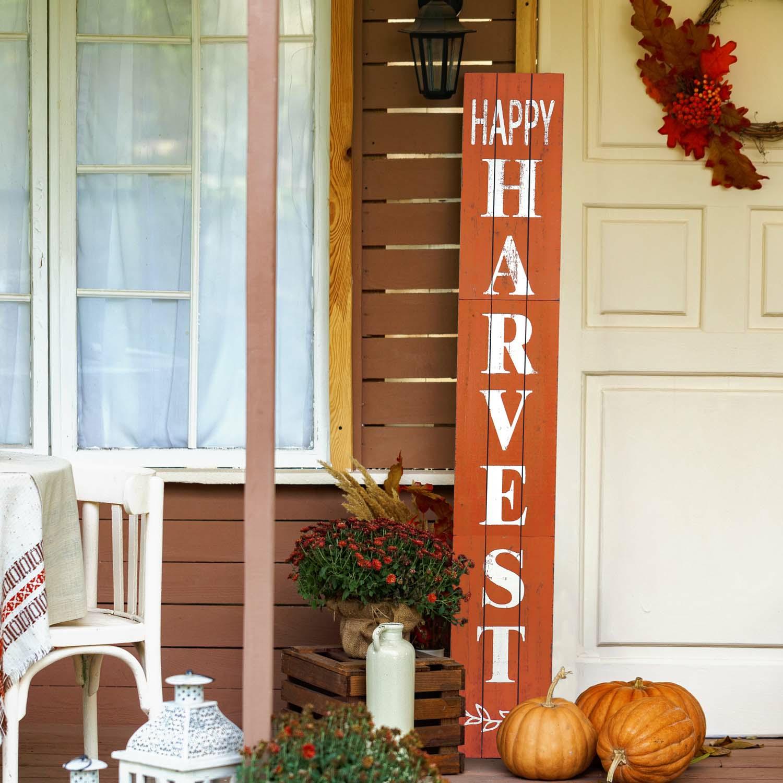 Happy Harvest Wood Porch Sign-Orange 72In