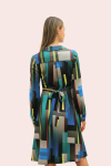 Amelia New York Long Sleeve Blues Bar Collared Shirt Dress - 2