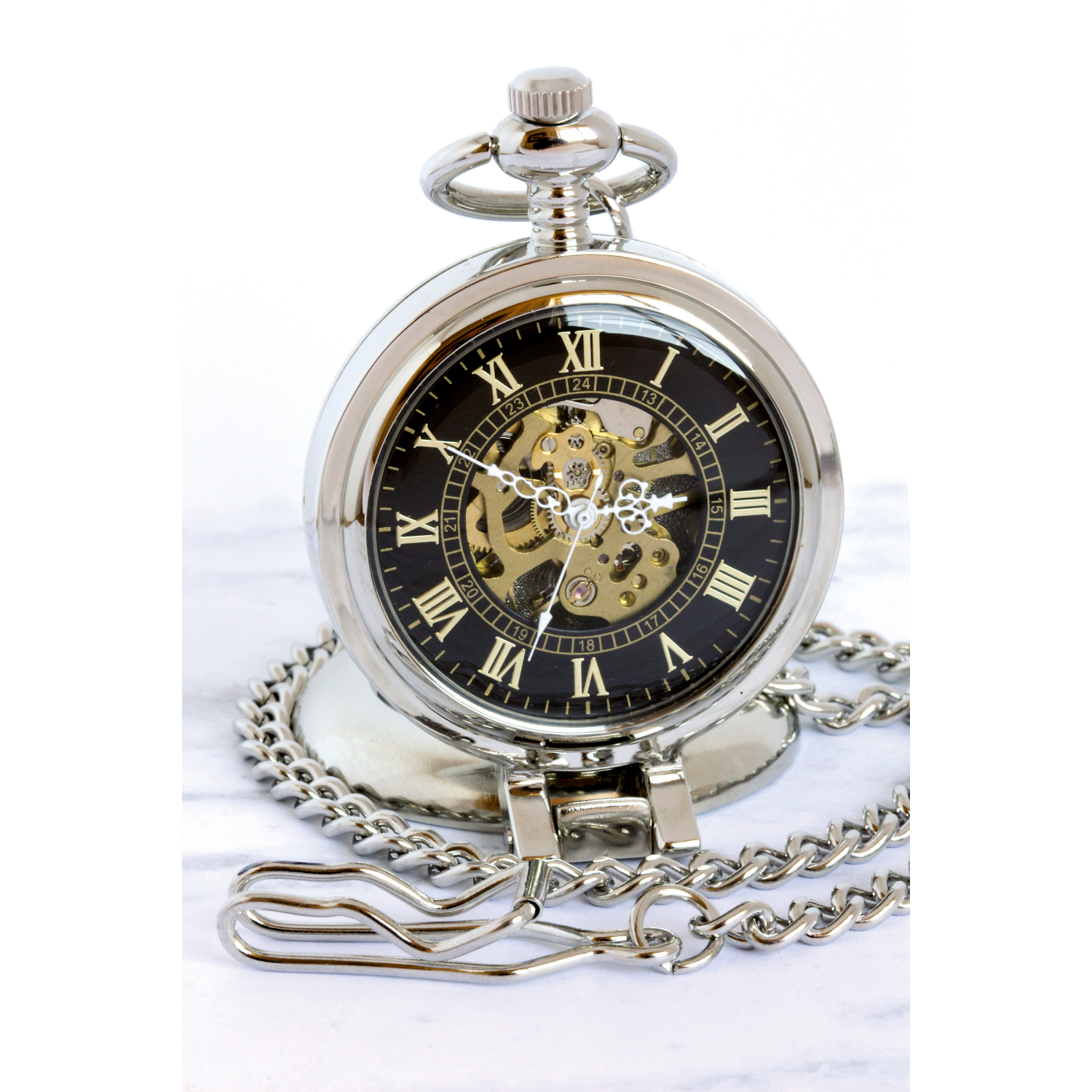 Gold-Layered Silver Walking Liberty Half Dollar Coin Pocket Watch With Skeleton Movement - Black Dial With Gold Roman Numerals