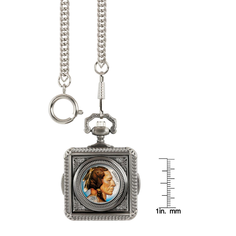Colorized Buffalo Nickel Coin Pocket Watch