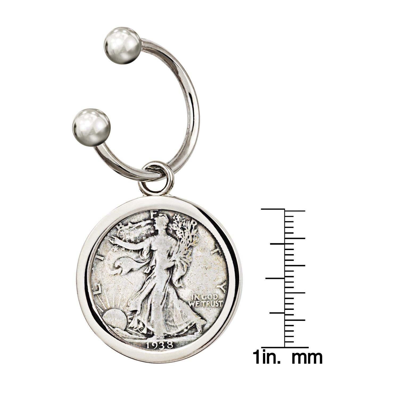 Silver Walking Liberty Half Dollar Silvertone Keychain