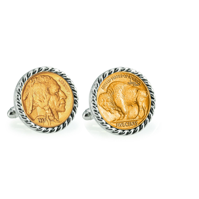 Gold-Layered Buffalo Nickel Silvertone Rope Bezel Coin Cuff Links